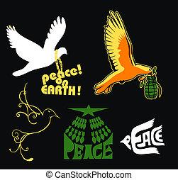jel, béke, földdel feltölt