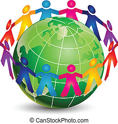 jel, boldog, emberek, mindenfelé, világ