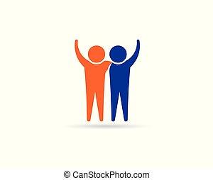 jel, connection., barátok, emberek, tervezés, társ, boldog, business.