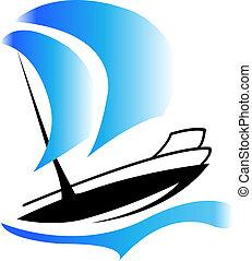 jel, csónakázik