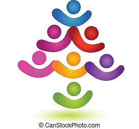 jel, csapatmunka, színes, fa, társadalmi