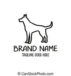 jel, egyedülálló, tervezés, kutya, ábra, vektor