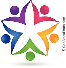 jel, egység, virág, csapatmunka, emberek