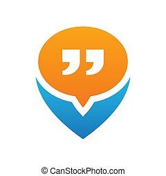 jel, elhelyezés, gombostű, -, árajánlatot tesz, vektor, ikon