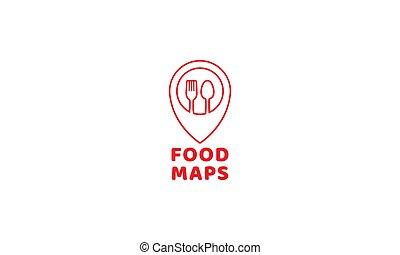 jel, elhelyezés, kanál, térkép, gombostű, élelmiszer, vektor, villa, vagy, étterem, ikon