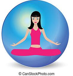 jel, elmélkedés, leány, jóga