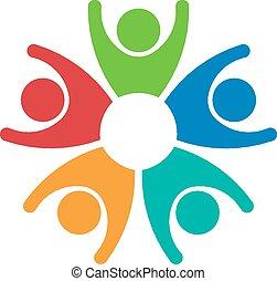 jel, emberek, 5, csoport, csapatmunka