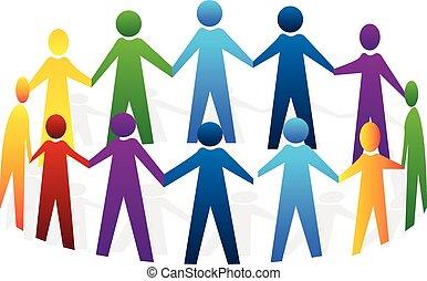 jel, emberek, csapatmunka, hatalom kezezés