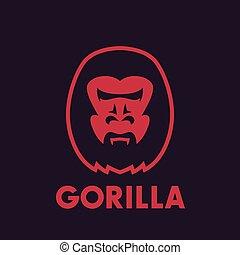 jel, fej, elem, gorilla, vektor
