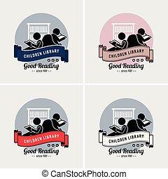 jel, gyerekek, könyvtár, design.