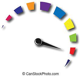 jel, gyorsaság, színes, távolságmérő