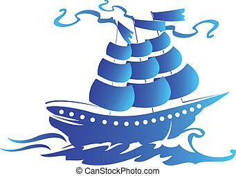 jel, hajó, vitorlázik