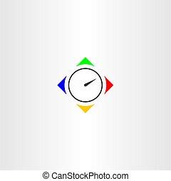 jel, jelkép, vektor, időzítő, ikon