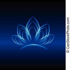 jel, kék, lotus virág