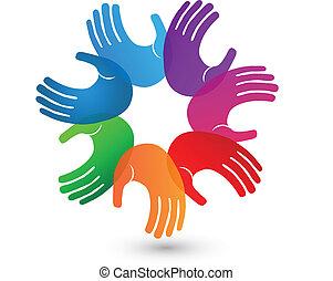 jel, kézbesít, színes, csapatmunka