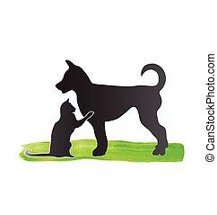 jel, körvonal, kutya, macska