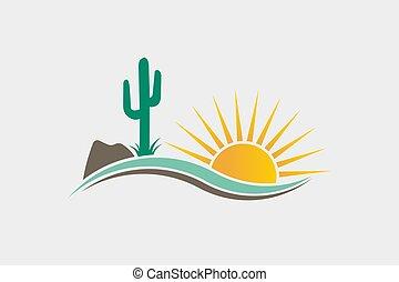 jel, kaktusz, dezertál, ábra, western