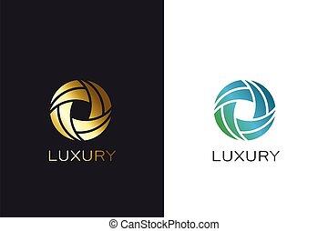 jel, karika, design., színezett, elvont, arany, vektor, arany-