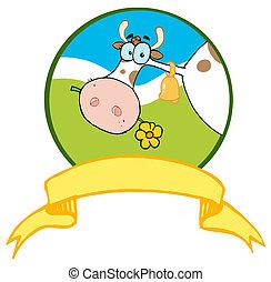 jel, karikatúra, tehén, mascot-farm