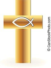 jel, keresztény, kereszt, arany