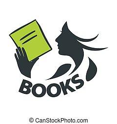 jel, leány, vektor, olvasókönyv