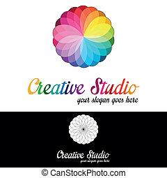 jel, műterem, sablon, kreatív