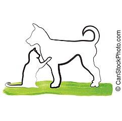jel, macska, játék, kutya