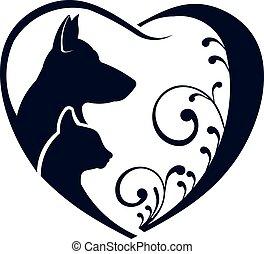 jel, macska, szeret, kutya, szív