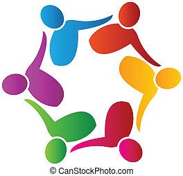 jel, munkás, vektor, csapatmunka, társadalmi