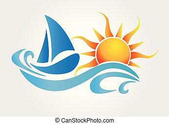 jel, nap, vektor, csónakázik, lenget