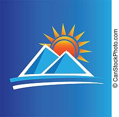 jel, nap, vektor, hegyek