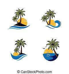 jel, napnyugta, ikon, tengerpart, vektor