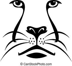 jel, oroszlán, árnykép, arc