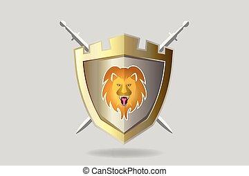 jel, oroszlán, ordítozó, pajzs