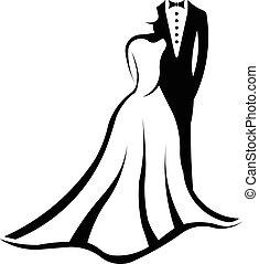 jel, párosít, esküvő
