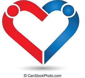 jel, párosít, ikon, szeret szív