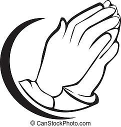 jel, praying kezezés