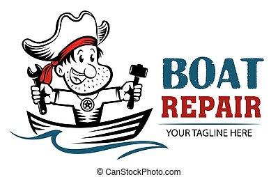 jel, rendbehozás, halászat, kalóz, birtok, megjavítás, hammer., furcsa, concept., karikatúra, ficam, csónakázik, mascot., csónakázik