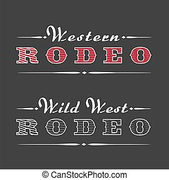 jel, rodeó, vektor, western, sablon