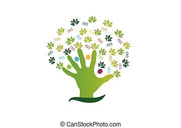 jel, számolás, emberek, fa, kéz