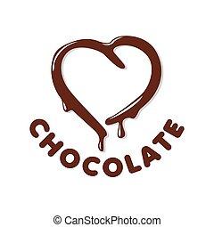 jel, szív alakzat, vektor, csokoládé
