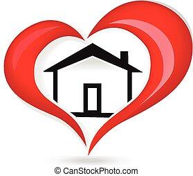 jel, szív, szeret, épület