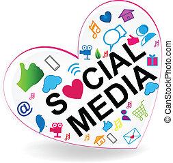jel, szív, vektor, társadalmi, média