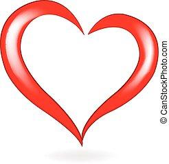 jel, szív, vektor, valentines