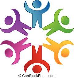 jel, társadalmi, csapatmunka, hálózat, emberek