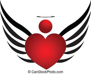 jel, tervezés, angyal, ikon