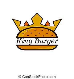 jel, tervezés, király, burger, vektor