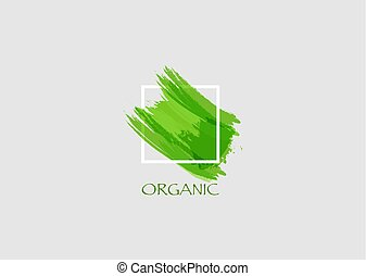 jel, transzparens, vector., eredeti, struktúra, elem, főcím, kéz, akril, felett, festék, poszter, szerves, zöld, tervezés, dolgozat, durva, festett, teljes, ütés, keret, grunge, ecset, derékszögben