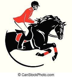 jel, ugrás, fekete, lovaglási, piros