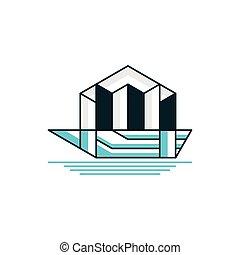 jel, város ügy, csónakázik, tervezés